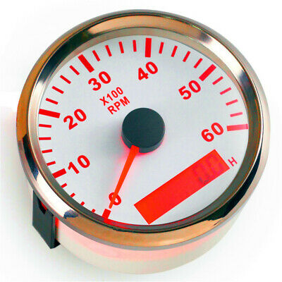 1pc 85mm Tachometer 0-6000RPM Tuning Tach Gauge for Yacht Auto Boat Truck White