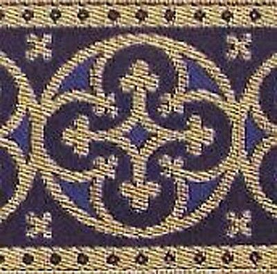 Wide, Traditional, Metallic, Jacquard Trim. Royal Blue