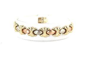 Image Is Loading 14k Yellow White And Rose Gold Xo Bracelet