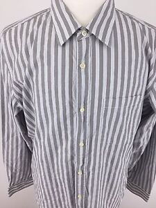 Banana-Republic-Homme-XL-gris-amp-blanc-a-rayures-a-manches-longues-Slim-Fit-I-77