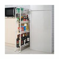 4 Tiers Slim Slide Out Storage Tower Pantry Portable Rolling Laundry Bathroom