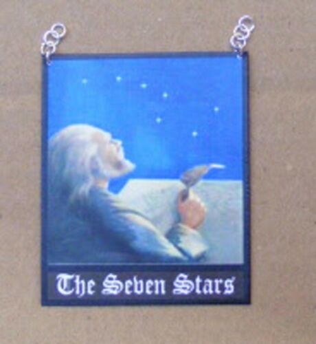 Escala 1:12 el signo siete estrellas pub Casa de Muñecas en Miniatura Bar Tavern Accesorio