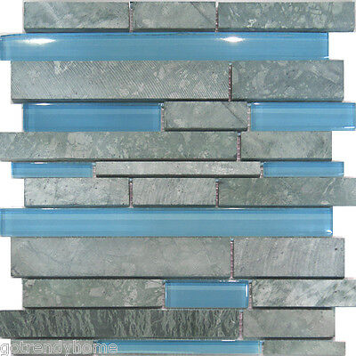 1SF-Marble Stone & Blue Glass Random Linear Mosaic Tile Backsplash Kitchen Floor
