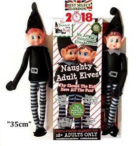 Elfi-comportarci-Male-nero-Naughty-Elf-Boy-Girl-12-034-2-PZ-Regalo-Di-Natale-NATALE-Divertimento