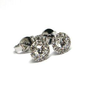 Boucles-D-039-Oreilles-or-Blanc-750-18K-Central-et-Cadre-de-Diamants-0-47-CT-Fleur