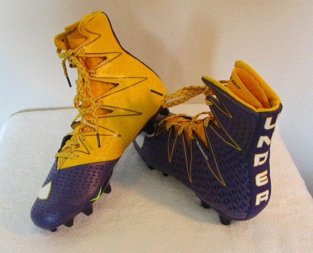 Under Armour Mens Us 11 Ua Highlight Clutchfit Football Cleats Purple Yellow For Sale Online Ebay