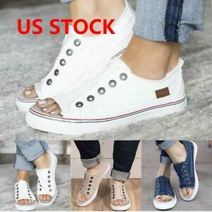 size 7 shop reliable quality Womens Ladies Denim Canvas Loafers Pumps Casual Slip On Flat ...
