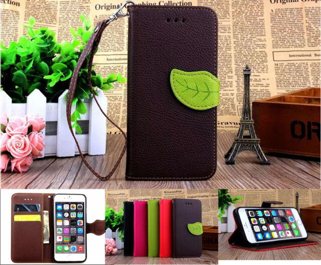 Strap leaf Leather Wallet Card Holder Case Stand Cover For Various Phones SD