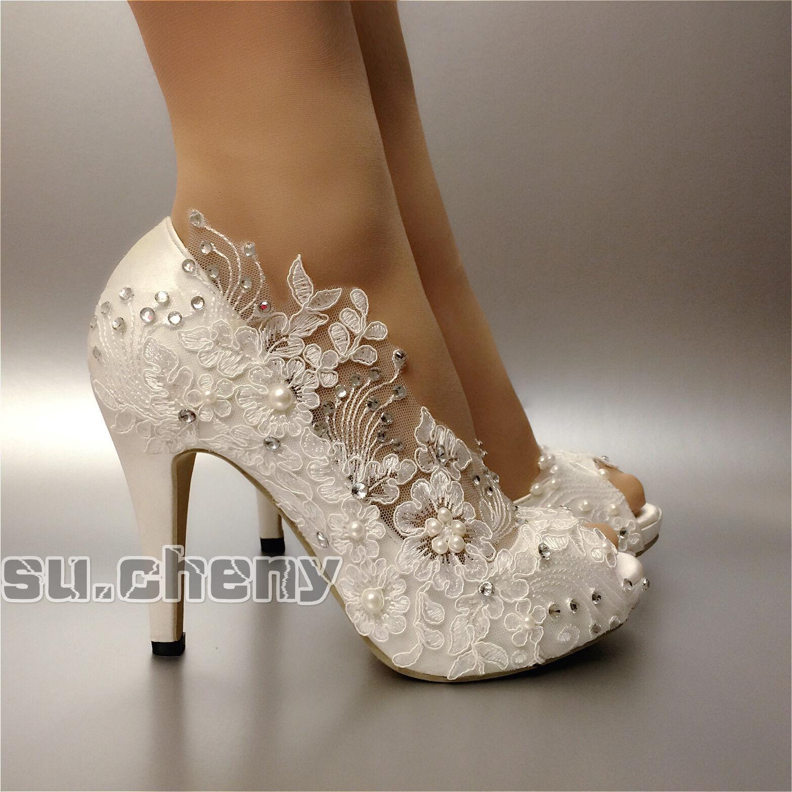 Heels satin Weiß ivory schuhe lace Gypsophila open toe Wedding schuhe ivory bride Größe 5-11 f44dfc