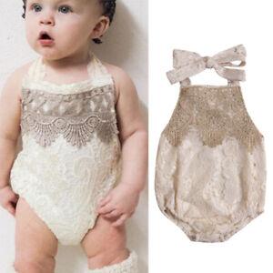 Baby Girls Sleeveless Halter Romper Backless Bodysuit Outfits Headband Ruffle Sunsuit Newborn 1st Birthday Clothes