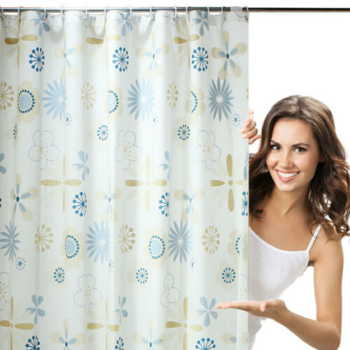 Shower Curtain Fabric 3D Flower Waterproof Washable Bath Curtain Home Long Chic