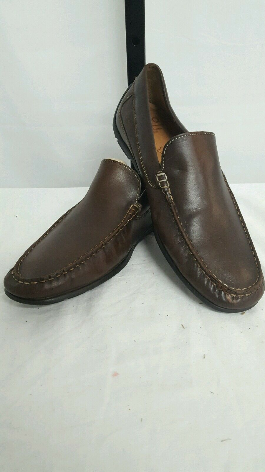ECCO MENS CLASSIC LEATHER MOCCASIN SLIP ON DRIVING SHOES BROWN SIZE 9 - 9.5 $150