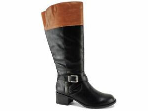 f58606867000b Style&co. Women's Venesa Riding Boots Black/Barrel Brown Size 5.5 M ...