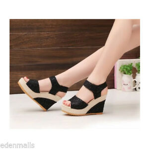 Moda-para-mujer-Zapatos-de-cuna-Encaje-Sandalias-Plataforma-Tacon-Alto