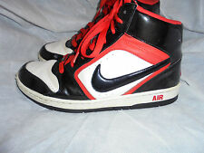 NIKE AIR MEN BLACK/WHITE/RED LEATHER LACE UP ANKLE TRAINERS SIZE UK 9 EU 44 VGC