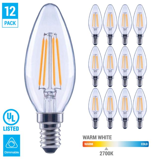 LED Candelabra B11 2W Dimmable Filament Light Bulb 25W Equal 2700K E12 UL 12pk
