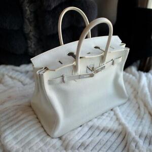 f6394c696b1 HERMES Birkin WHITE 35cm M 2009 leather ladies bag purse clemence 35 ...