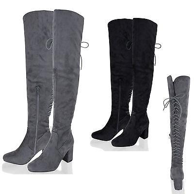 Damen Rücken Schnürer Overknee Oberschenkel mittel Blockabsatz Stiefel Schuhe