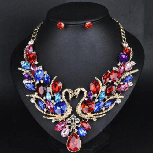 Fashion Women Bib fleurs cristal pendentif Statement chaîne Chunky Collier Tour de cou