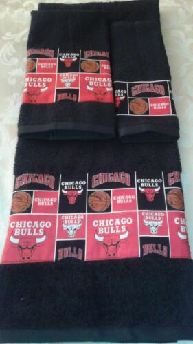 Chicago Bulls 3 Piece Bath Towel Set Handmade  GREAT GIFT!!!