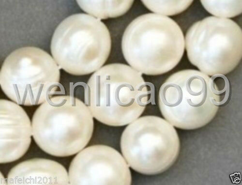 """1 Strands 8-9mm White freshwater Cultured  Pearl Loose Beads 14.5/"""""""