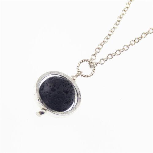Lava Rock Pierre Perles avec creux argent anneau pendentif 50 cm Chaîne Bijoux Collier