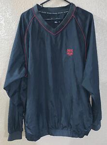 Mens-FootJoy-Black-V-Neck-Wind-Breaker-Pull-Over-Golf-Jacket-Size-XL