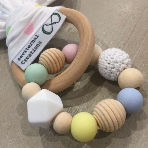 Bunny Ears Teething Ring Natural Teether Teether Large Natural Wood Silicone