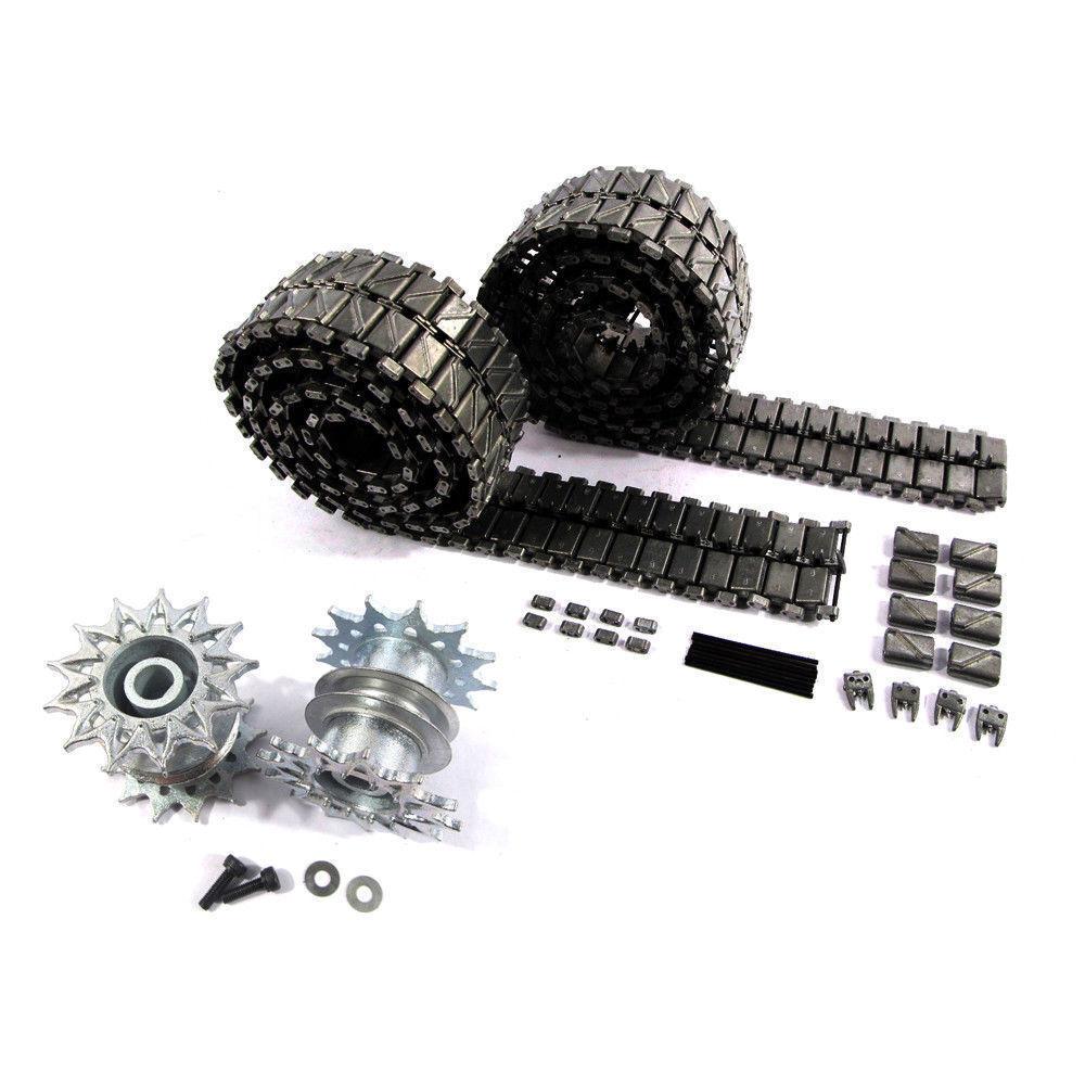 Conjunto de Pista De Metal Mato ruedas dentadas para 1 16 henglong 3838-1 USA M26 Tanque RC Pershing