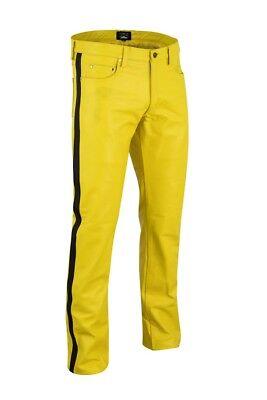 Lederhose Blau mit streife leather Pants,leder hose 5 pockets lederjeans Gr.36W