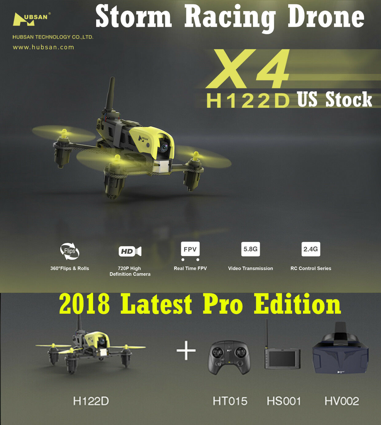 Hubsan H122D X4 Pro 5.8G FPV 720P HD Micro STORM Racing Drone Quadcopter Goggles