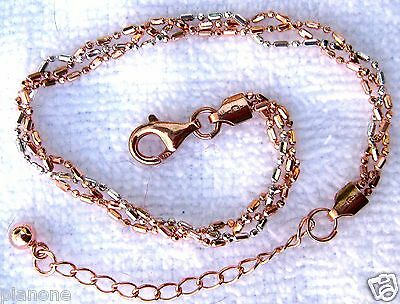 """Bands Without Stones Italia Plata De Ley .925 & 14k Pulsera Con Chapa Oro Rosa 9 """",ajustable Extender Jewelry & Watches"""