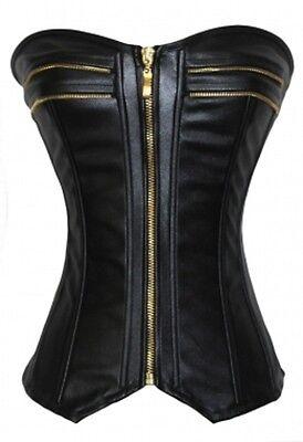 BLACK CORSET FAUX PVC LEATHER LOOK FETISH ZIPPER DRESS BONDAGE SIZE S M L XL XXL