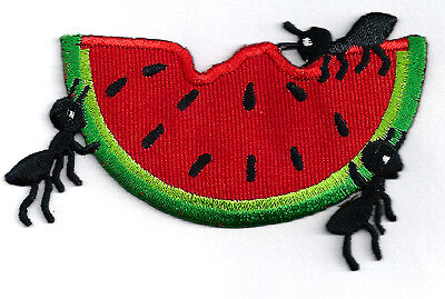 WATERMELON W/PICNIC ANTS EMBROIDERED IRON ON APPLIQUE PATCH