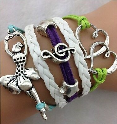 NEW Hot Retro Infinity Ballet girl Heart Leather Charm Bracelet plated Silver