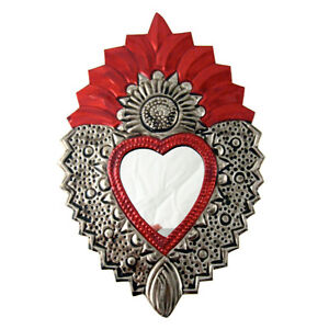 AUTHENTIC-MEXICAN-TIN-FOLK-ART-COLOURFUL-FLAMING-HEART-039-FLOWER-039-MIRROR-SMALL