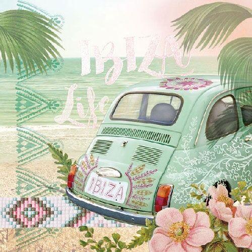 Ambiance Serviettes Ibiza Life Palmiers Plage Fleurs vacances VERT BLANC 20 ST 33x33
