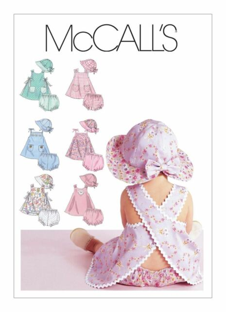 1da97795720 McCall  sewing Pattern 6303 Babies Sml-Xlg Cross Over Back Dress Top  Panties Hat