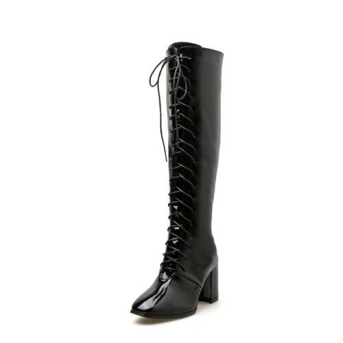Bottes 1698 Brillant Femme 7 Noir Confortable Rangers Cm Bikers UUfqwv