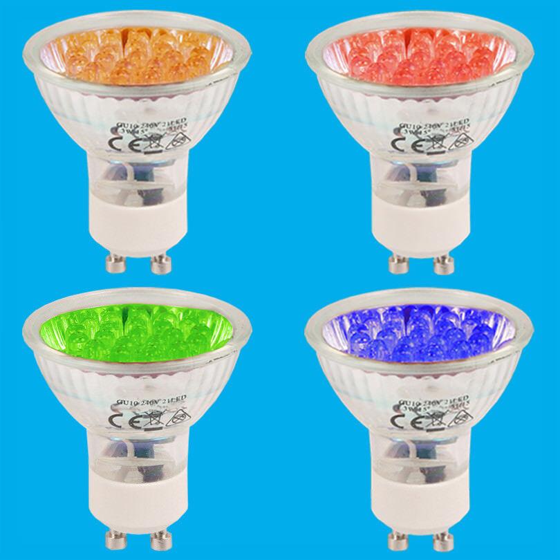 10x 1.3W + 21 LED GU10 Farbig Spot Glühbirnen Blau Orange Rot Grün Unten Lampe