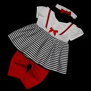 suesses-3-tlg-Baby-Maedchen-Sommer-Kleid-Marine-Style-Gr-62-68-74