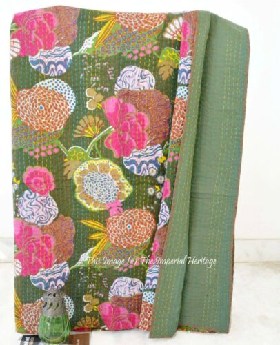 Cotton Queen Kantha Indian Handmade Ethnic Vintage Quilt Throw Bed Cover Gudari