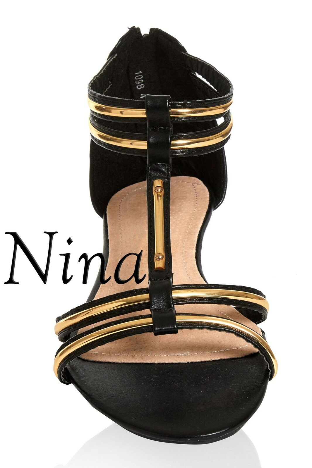Ladies Womens Low Black Heel T-BAR Shoes Sandal Black Low and Gold summer sandals 3dcdea