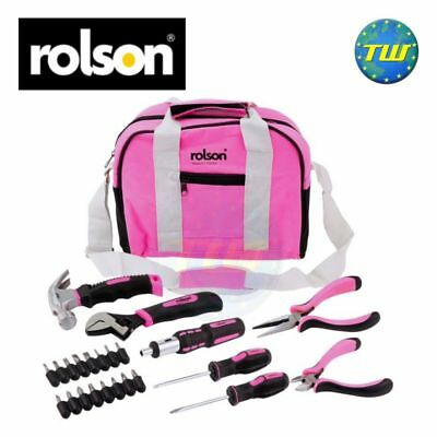 Rolson 25pc Pink Ladies Womens Lady Girls Hand Tool Kit Bag Set Home Repair DIY