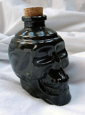 Black Glass Goth Skull Decanter / Bottle - 170ml size  - New