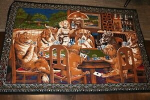 Vintage-Dogs-Playing-Poker-Cloth-Tapestry-Rug-Wall-Hanging-58-034-x-40-034-Turkey
