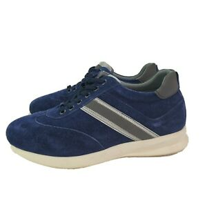 Calto-Mens-Size-8-Invisible-Height-Increasing-Elevator-Shoes-Blue-Suede-Sneakers