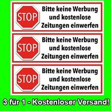 3 Stück Aufkleber für Briefkasten- STOPP - KEINE WERBUNG und ZEITUNGEN einwerfen