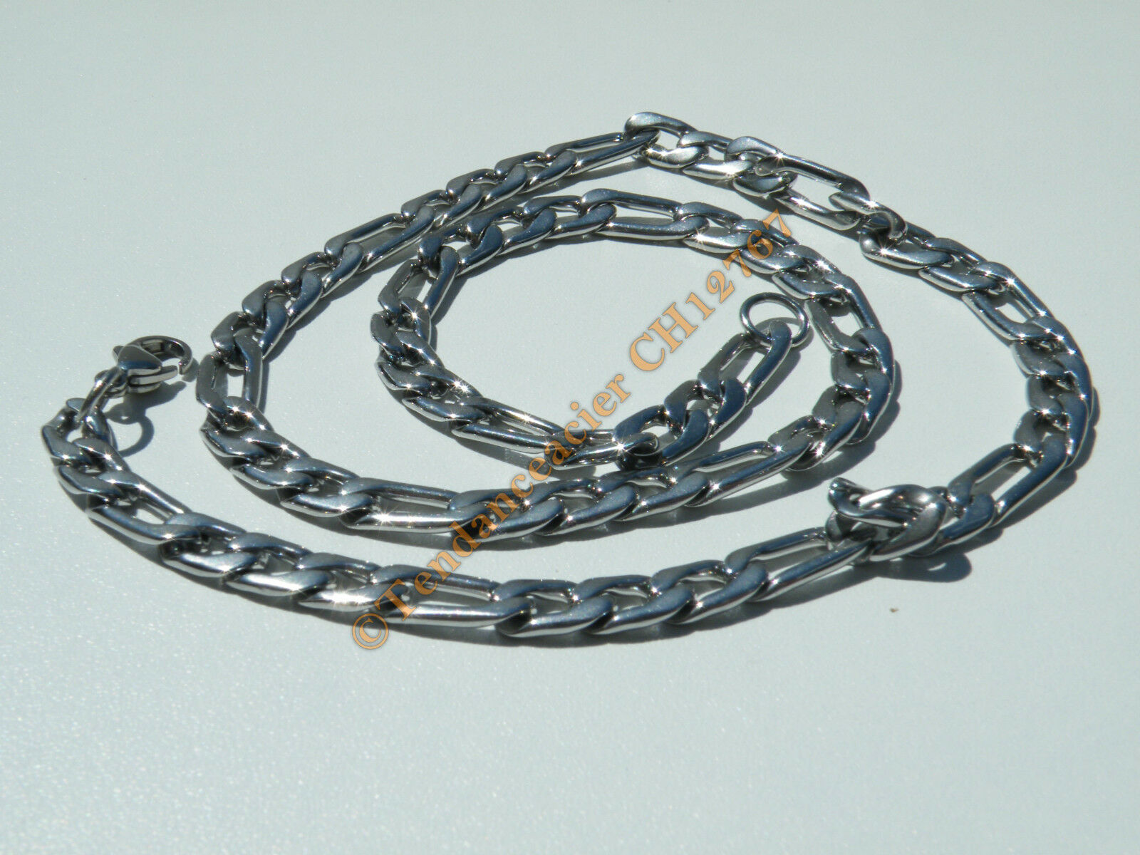 Chaine Collier 56 cm Style Maille Figaro 1+3 silveré Pur Acier Inoxydable 7 mm