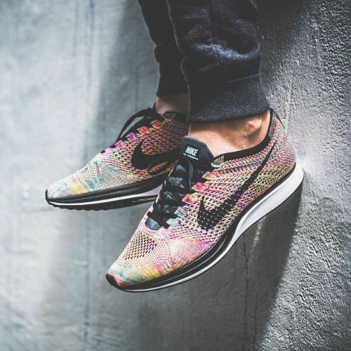 NEW MENS 9.5 WOMENS 11 NIKE FLYKNIT RACER SHOES RAINBOW MULTICOLOR MC 3.0 526628